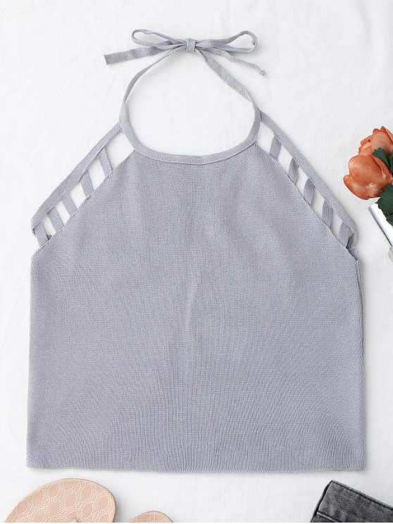 women's Halter Knitting Cut Out Tank Top - GRAY ONE SIZE