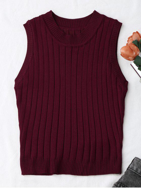 lady Knitting Mock Neck Tank Top - WINE RED ONE SIZE