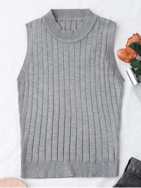 best Knitting Mock Neck Tank Top - GRAY ONE SIZE