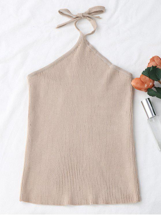 hot Halter Knitting Ribbed Tank Top - APRICOT ONE SIZE