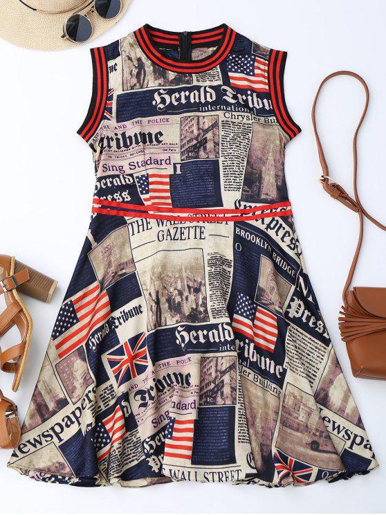 Journaux American Flag Print Sleevelss Dress - Multicolore M