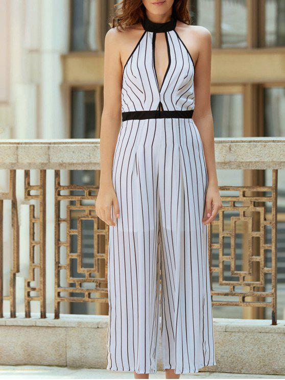 Listrado Backless Cut Out Halter mangas Jumpsuit - Branco M