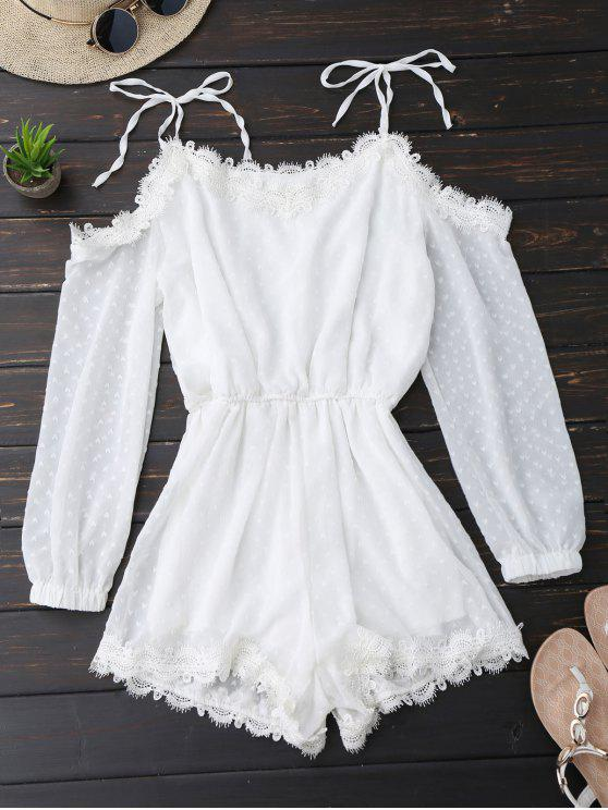 latest Lace Trim Tie Shoulder Romper With Dot - WHITE M