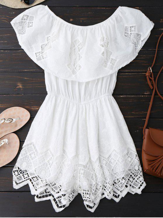 392b9dcbe1a 39% OFF  2019 Lace Trim Cut Out Off Shoulder Romper In WHITE