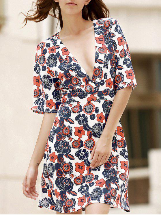 نصف الأكمام V فستان طباعة الرقبة - أبيض M