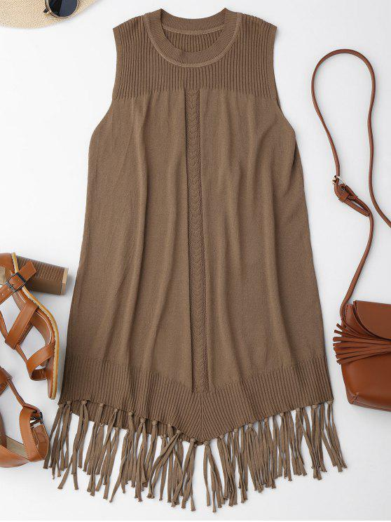 fancy Knitted Sleeveless Fringed Flapper Dress - LIGHT COFFEE ONE SIZE