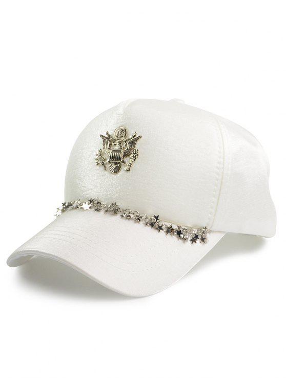 شعار معدني محفور نجوم رابط قبعة البيسبول - أبيض حجم واحد