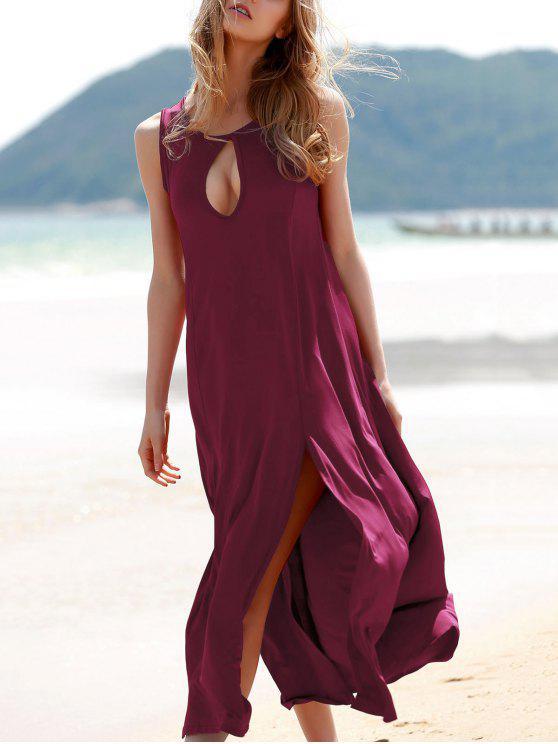 shops Keyhole Design Double Split Dress - WINE RED L