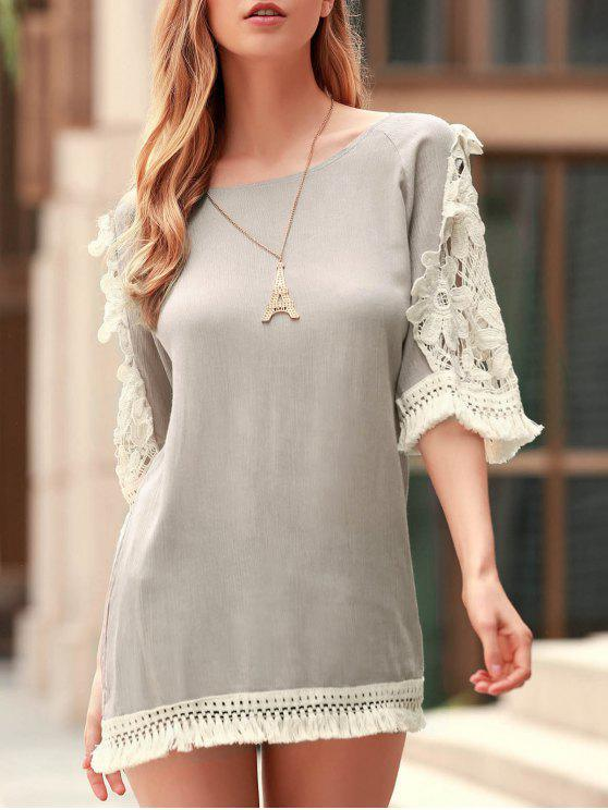women's Perspective Lace Splicing Round Neck 3/4 Sleeve Dress - LIGHT KHAKI S