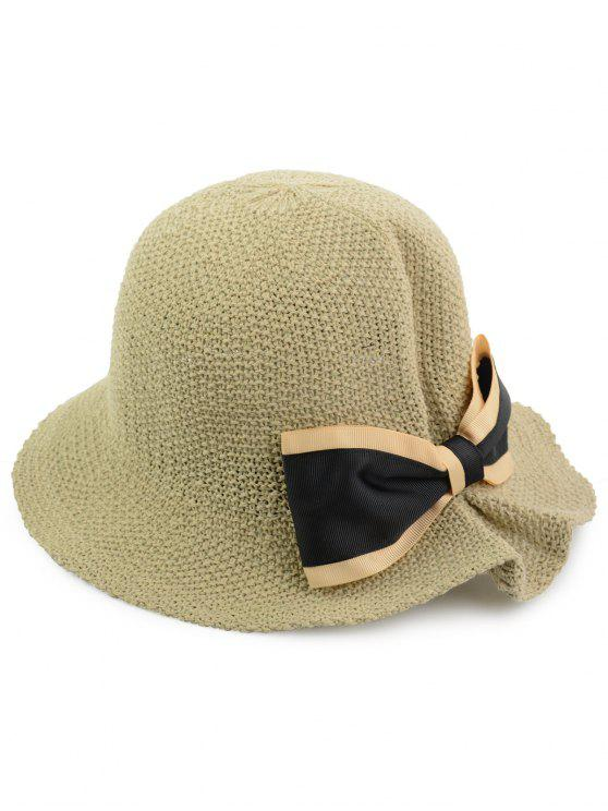 16a9d16939f 2018 Bowknot Embellished Woven Breathable Bucket Hat In LIGHT KHAKI ...