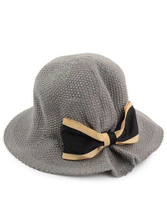 بونوت مزين المنسوجة قبعة دلو تنفس - رمادي حجم واحد