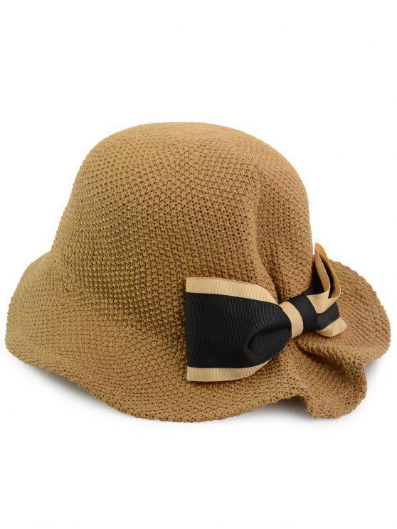 بونوت مزين المنسوجة قبعة دلو تنفس - قهوة حجم واحد