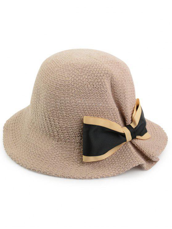 بونوت مزين المنسوجة قبعة دلو تنفس - زهري حجم واحد