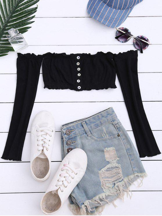 fashion Button Up Off Shoulder Cropped Top - BLACK ONE SIZE