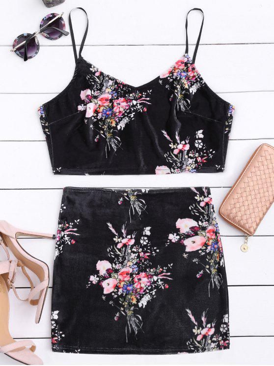 chic Velvet Floral Crop Top and Bodycon Skirt - BLACK S
