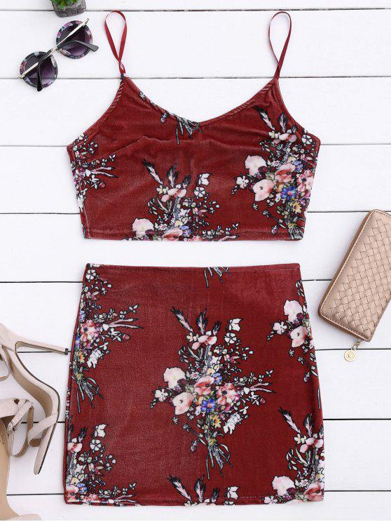 womens Velvet Floral Crop Top and Bodycon Skirt - CLARET M