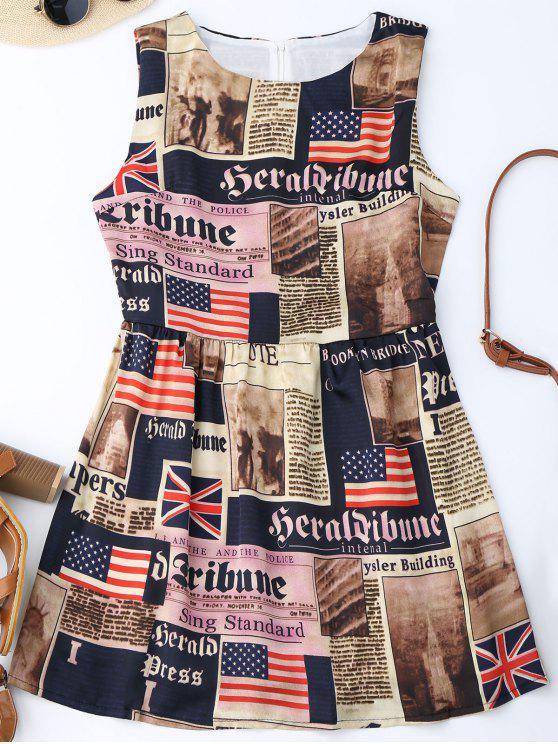 Robe Patriotique Drapeau Américain Sans Manches - Multicolore S