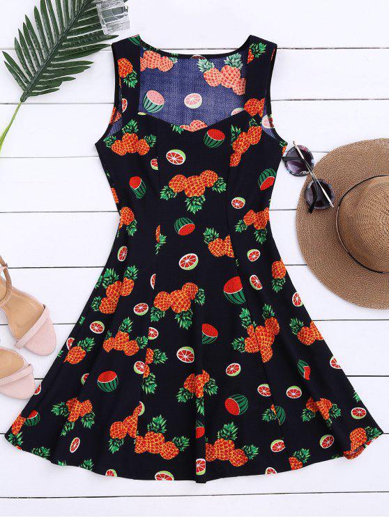 Robe sans manches imprimée d'ananas et de pastèques - Multicolore L