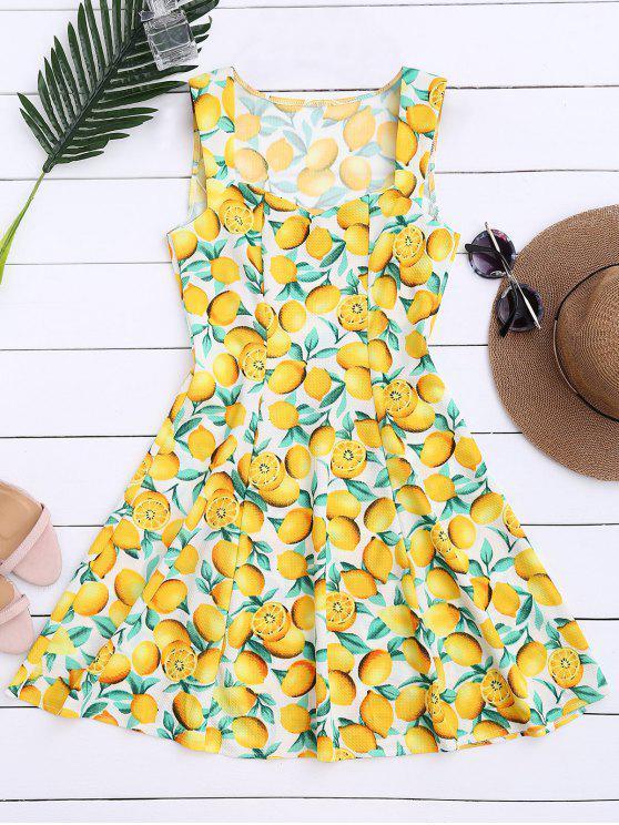 فستان طباعة الليمون بلا أكمام - الأصفر L