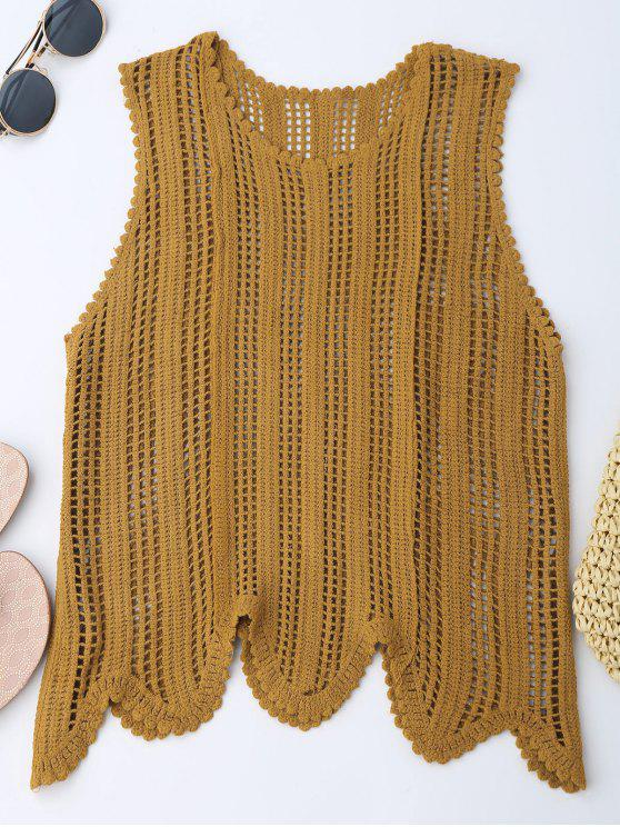 latest Scalloped Crochet Tank Top - EARTHY ONE SIZE