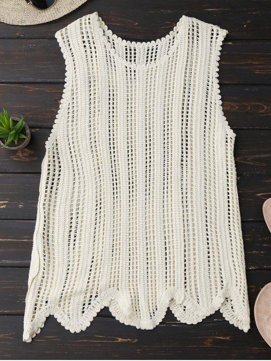 trendy Scalloped Crochet Tank Top - OFF-WHITE ONE SIZE