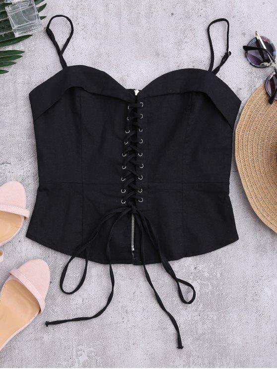 El vintage ata para arriba la camiseta sin mangas - Negro S