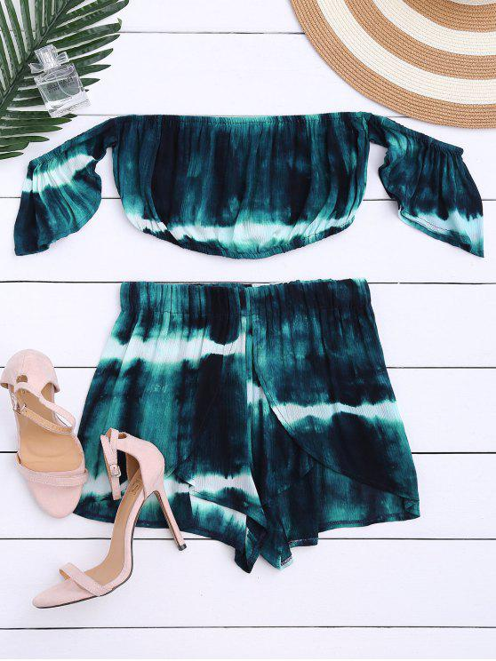 hot Tie-Dyed Off The Shoulder Crop Top and Shorts - BLACKISH GREEN S