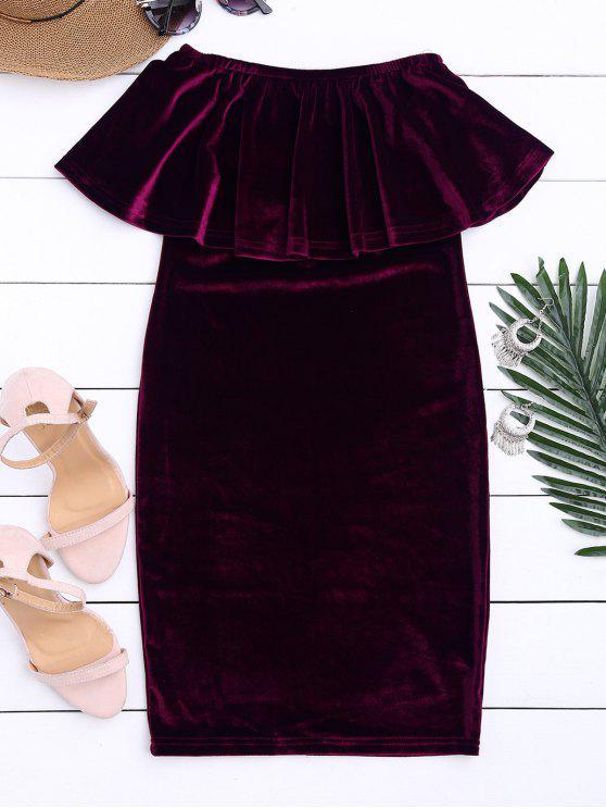 Off The Shoulder Ruffle Vestido de terciopelo - Rojo purpúreo M