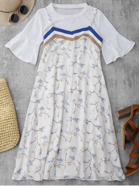 Flare manga superior y Cami vestido floral - Blanco Única Talla