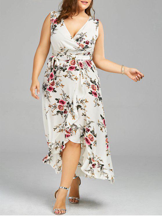 Robe d'enveloppe à grande taille imprimée de motif floral avec embellissement de falbalas - Blanc 2XL