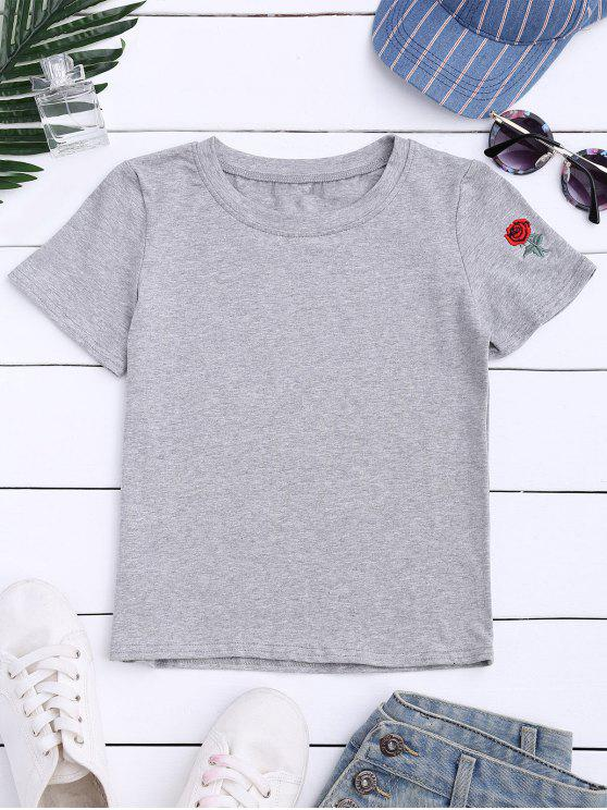 trendy Short Sleeve Rose Embroidered T-Shirt - GRAY M