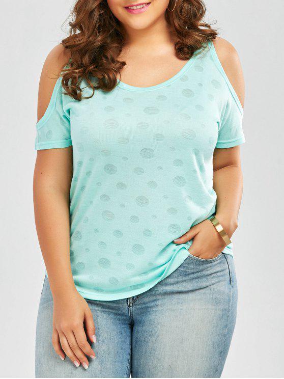 lady Plus Size Cold Shoulder Plain T-Shirt - WINDSOR BLUE 4XL