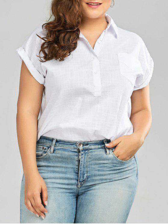 womens Plus Size Cuffed Sleeve Linen Pocket Shirt - WHITE 3XL