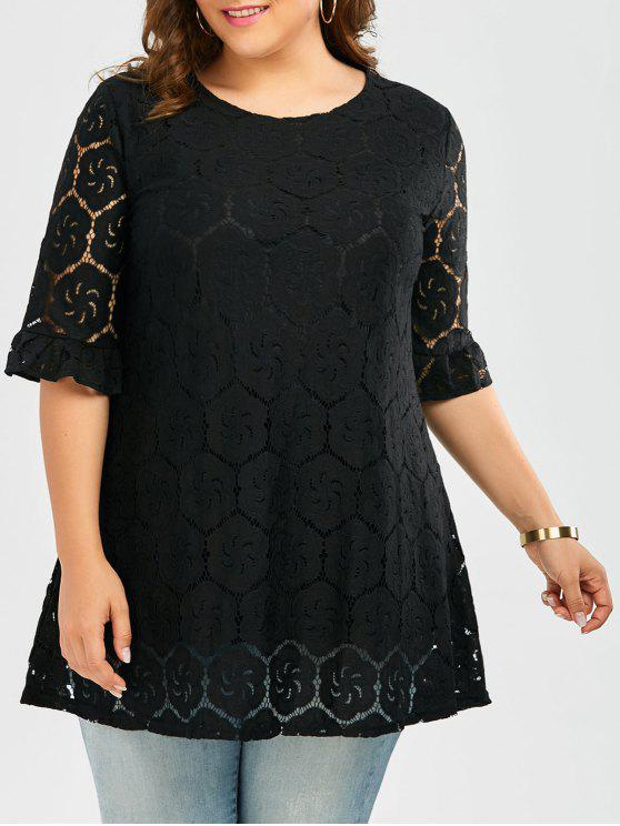 39b445bccd8 Plus Size Flounce Bell Sleeve Lace Blouse