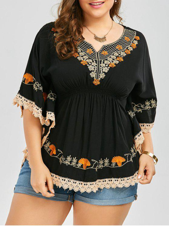 womens Plus Size Embroidered Lace Trim Kimono Blouse - BLACK 3XL
