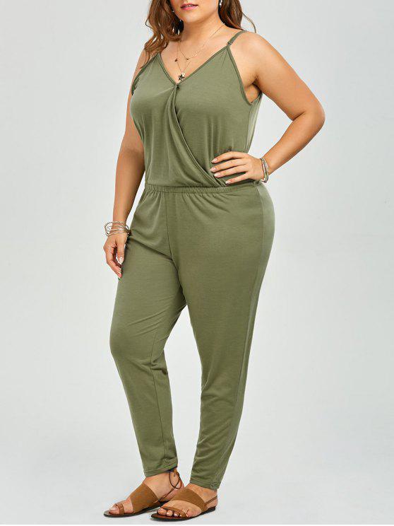 womens Plus Size V Neck Spaghetti Strap Jumpsuit - GREEN 6XL