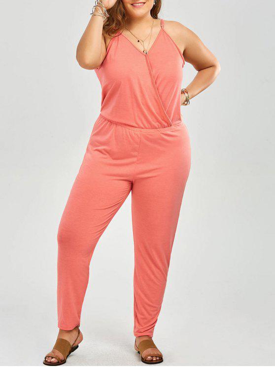 ladies Plus Size V Neck Spaghetti Strap Jumpsuit - PINK 4XL