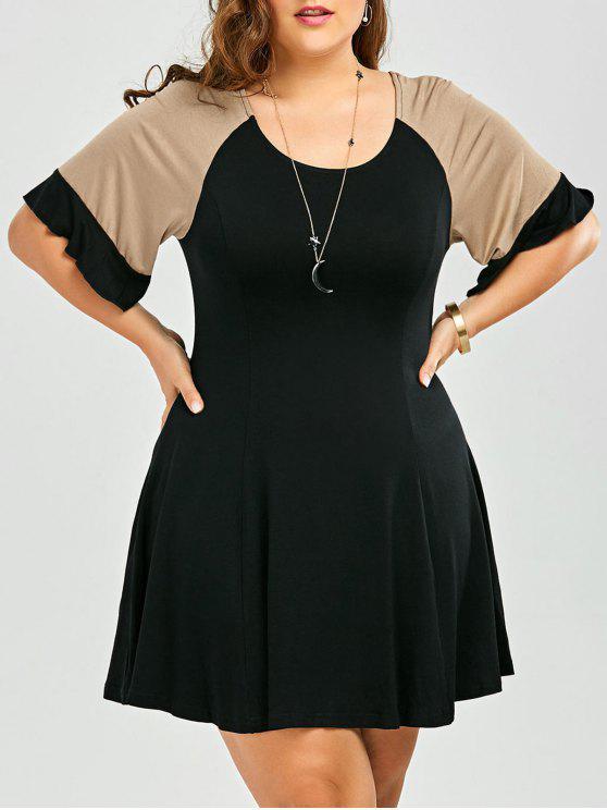 women A Line Color Block Plus Size Dress - BLACK 2XL