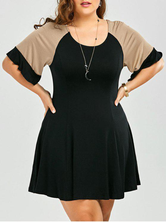 women A Line Color Block Plus Size Dress - BLACK 2XL