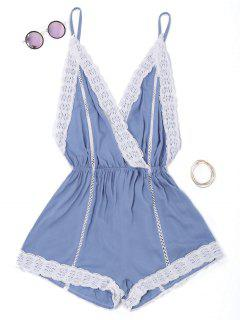 Plunge Lace Trim Open Back Romper - Blue S