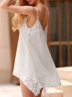Lace Spliced Spaghetti Straps Solid Color Dress - White L