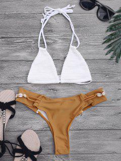 Crochet Halterneck Bikini Set - White And Brown S