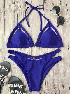Rings Cutout Caged Bikini Top And Bottoms - Blue L