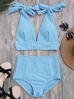 Tied Plunging Neck High Waisted Bikini - Azure S