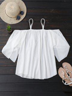 Cami Cold Shoulder Asymmetric Sleeve Top - White M
