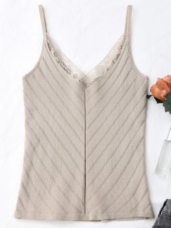 Knitting Lace Trim Tank Top - Apricot