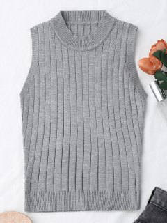 Tricot Mock Neck Tank Top - Gris