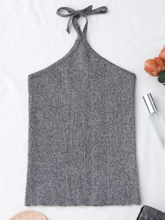 Halter Knitting Ribbed Tank Top - Gris