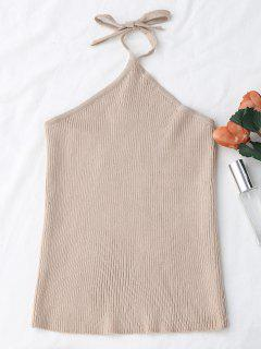 Halter Knitting Ribbed Tank Top - Apricot