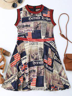 Newspaper American Flag Print Sleevelss Dress - M